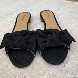 Michael kors black suede flat sandals